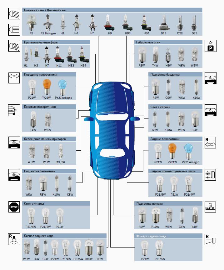 основные виды автомобильных ламп